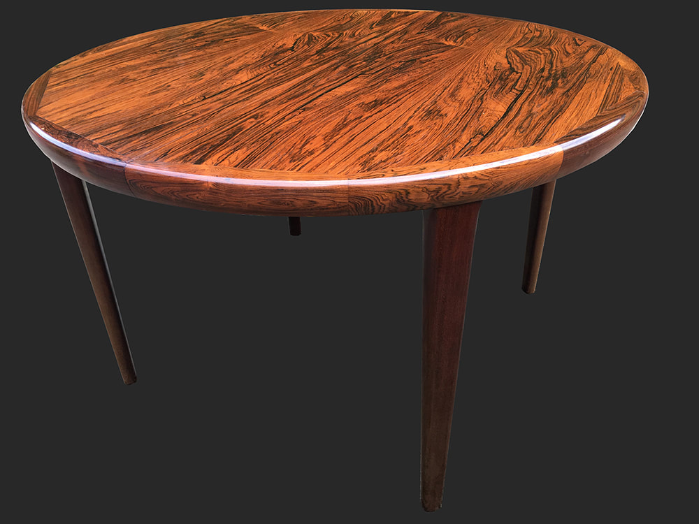 Danish Rosewood 2 Leaf Extendable Dining Table By Kofod Larsen